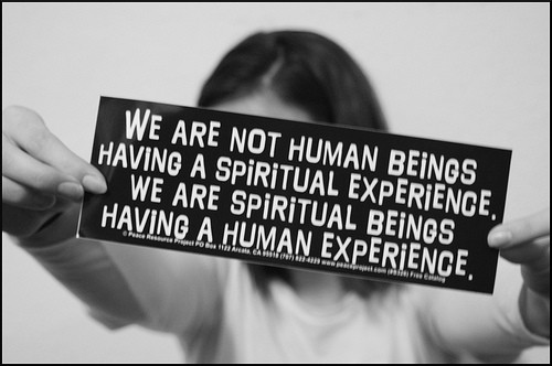 We are not human beings having a spiritual experience; we are spiritual beings having a human experience.